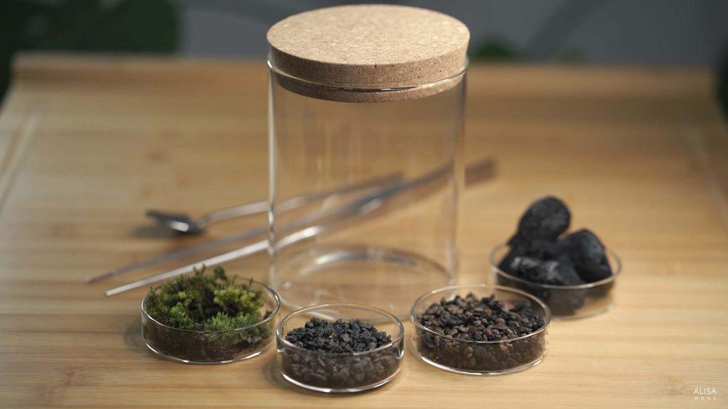 Terrarium with no soil ingredients - moss, lava rock, leca, glass jar, tweezers and metal spoon